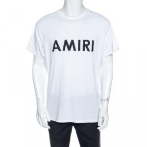 Amiri White Cracked Logo Printed Cotton Crew Neck T-Shirt M