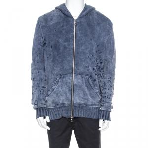 Amiri Blue Bleached Effect Knit Distressed Zip Front Shotgun Hoodie L
