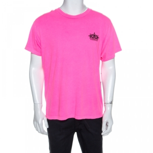 Amiri Neon Pink Five Star Printed Cotton Crew Neck T-Shirt M