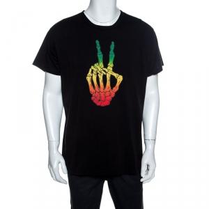 Amiri Black Bones Peace Printed Cotton Crew Neck T-Shirt M
