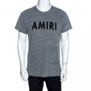 Amiri Grey Logo Printed Slub Knit Distressed Crew Neck T-Shirt S