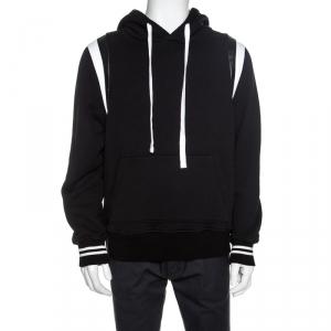 Amiri Black Knit Leather Trimmed Varsity Hooded Sweatshirt M