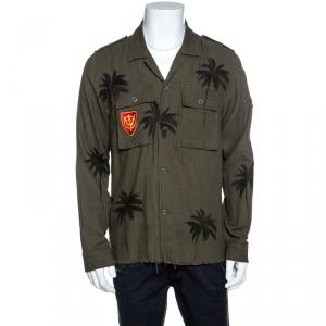 Amiri Khaki Green Palm Tree Print Cotton Applique Detail Distressed Shirt L