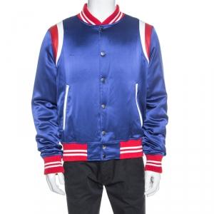 Amiri Blue Silk Leather Trimmed Varsity Bomber Jacket XL
