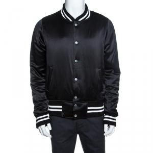 Amiri Black Silk Varsity Baseball Jacket L
