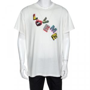 Amiri Off White Printed Cotton Love Me T-Shirt M