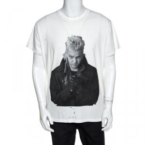 Amiri Off White Lost Boys Print Cotton Distressed Shotgun T-Shirt M