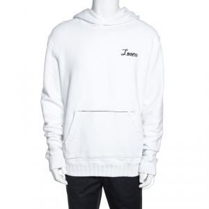 Amiri White Lovers Embroidered Cotton Hooded Sweatshirt L