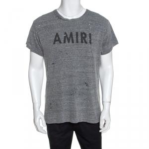Amiri Grey Logo Print Distressed Cotton T-Shirt M
