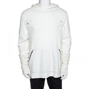 Amiri Off White Distressed Knit Shotgun Hooded Sweatshirt M