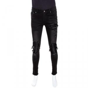 Amiri Black Distressed Denim Ribbed Leather Trim Skinny Jeans M