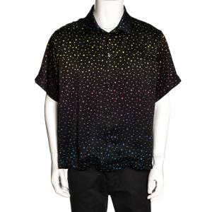 Amiri Black Silk Polka Dot Short Sleeve Shirt L