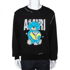 Amiri Black Distressed Knit Teddy Repair Crew Neck Sweatshirt S