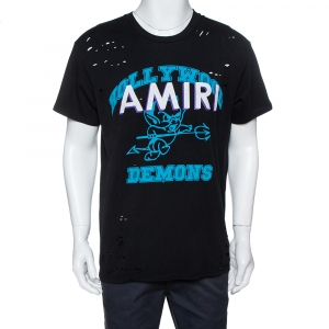 Amiri Black Cotton Jersey Hollywood Demons Print Distressed T-Shirt S