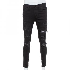 بنطلون جينز اميري ممزق مزين رقعات نوتات موسيقية دنيم أسود مقاس وسط (ميدوم)