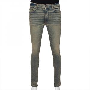 Amiri Blue Dirty Denim Distressed Tapered Leg Jeans M