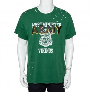 Amiri Green Vintage Army Printed Cotton Distressed Crewneck T-Shirt M