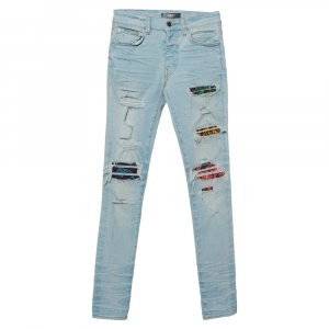 Amiri Blue Denim Contrast Patch Detail Distressed Skinny Jeans XS