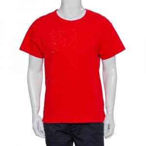 Amiri Red Cotton Crewneck Shotgun T-Shirt XS