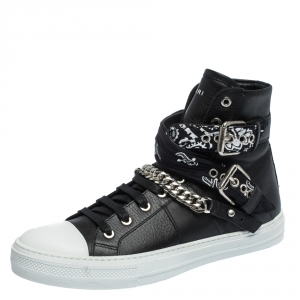 Amiri Black Leather Sunset Bandana Lace High Top Sneakers Size 42