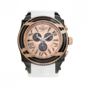 AquaSwiss Gold Plated SS Black Unisex Wristwatch