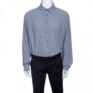Armani Collezioni Grey Striped Long Sleeve Button Front Shirt XXL - used