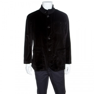 Armani Collezioni Black Velvet Knit Collar Detail Button Front Jacket XXXL