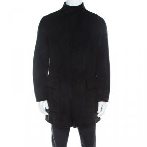 معطف طويل أرماني كوليزوني بطانة فرو صناعي سويدي صناعي أسود L