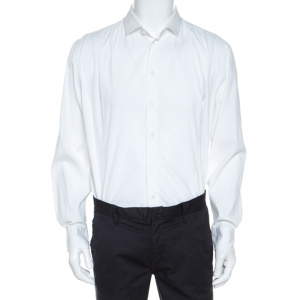 Armani Collezioni White Cotton Blend Button Front Shirt XXL - used