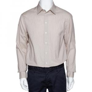 Armani Collezioni Beige Striped Cotton Blend Button Front Shirt L - used