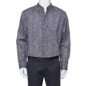 Armani Collezioni Grey Texture Print Cotton Button Front Shirt XL - used