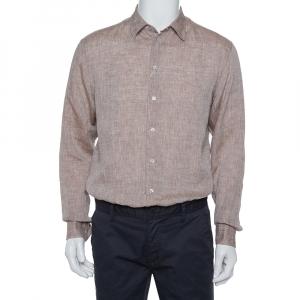 Armani Collezioni Brown Linen Shirt M