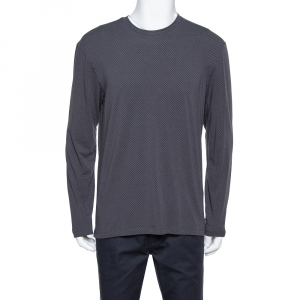 Armani Collezioni Dark Grey Chevron Pattern Knit Long Sleeve Crew Neck T-Shirt XL