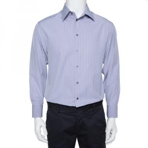 Armani Collezioni Lilac Striped Cotton Button Front Shirt L - used
