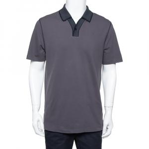 Armani Collezioni Dark Grey Cotton Contrast Collar Detail Polo T-Shirt XXL - used