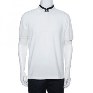Armani Collezioni White Cotton Pique Contrast Collar Detail T-Shirt XXL - used