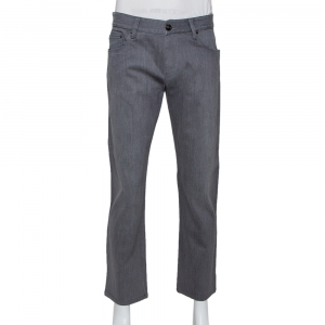Armani Collezioni Grey Denim Low Rise Tight Leg Regular Fit Jeans M