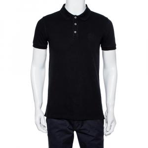 Armani Collezioni Black Cotton Pique Logo Embroidered Polo T-Shirt L - used