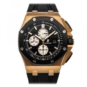 Audemars Piguet Black 18K Rose Gold Royal Oak Offshore Chronograph 26401Ro.Oo.A002Ca.01 Men's Wristwatch 44 MM