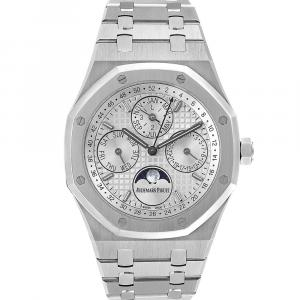 Audemars Piguet Silver Stainless Steel Royal Oak Perpetual Calendar 26574ST Men's Wristwatch 41 MM
