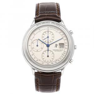 Audemars Piguet White Stainless Steel Huitieme Chronograph 25644ST Men's Wristwatch 40 MM