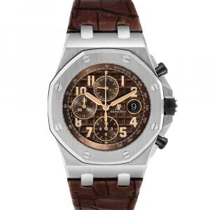 Audemars Piguet Brown Stainless Seel Royal Oak Offshore Havana Chronograph 26470ST Men's Wristwatch 42 x 54 MM