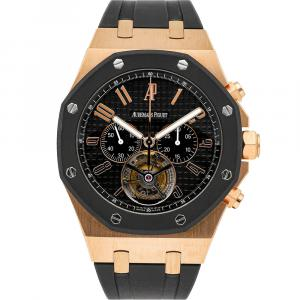 Audemars Piguet Black 18K Rose Gold Royal Oak Offshore Tourbillon Chronograph 26257OK.OO.D002CA.01 Men's Wristwatch 44 MM
