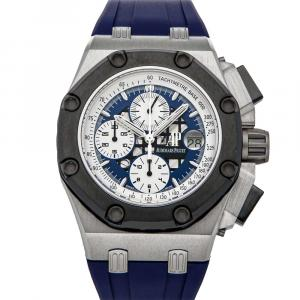 Audemars Piguet Blue Platinum Royal Oak Offshore Chronograph Rubens Barrichello II 26078PO.OO.D018CR.01 Men's Wristwatch 44 MM