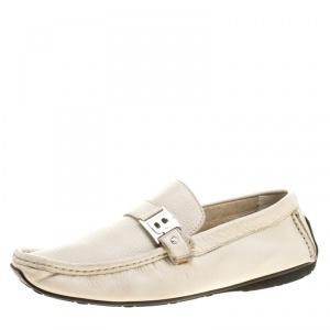 Baldinini Cream Leather Buckle Detail Loafers Size 41.5