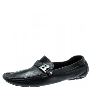 Baldinini Black Leather Buckle Detail Loafers Size 46