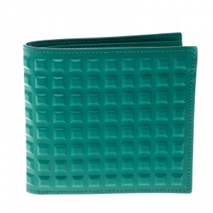 Balenciaga Sea Green Grid Embossed Leather Bifold Wallet