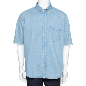 Balenciaga Blue Denim Raw Edge Detail Short Sleeve Oversized Shirt S