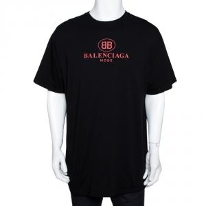 Balenciaga Black BB Balenciaga Mode Print Cotton T-Shirt M