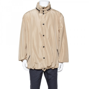Balenciaga Beige Synthetic Logo Print Oversized Rain Jacket M -